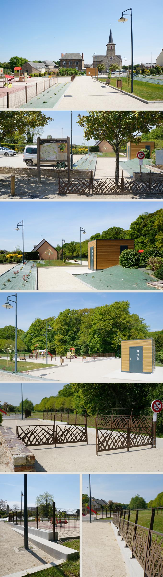 Aménagement paysager et aire de jeux en centre bourg; Mernel (35)