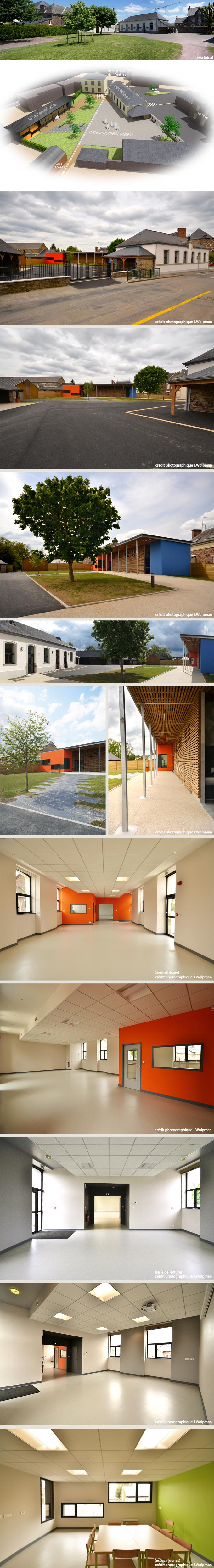 Réhabilitation d'un ouvrage existant en médiathèque + construction d'un pôle associatif + aménagement urbain + installation d'une chaudière bois