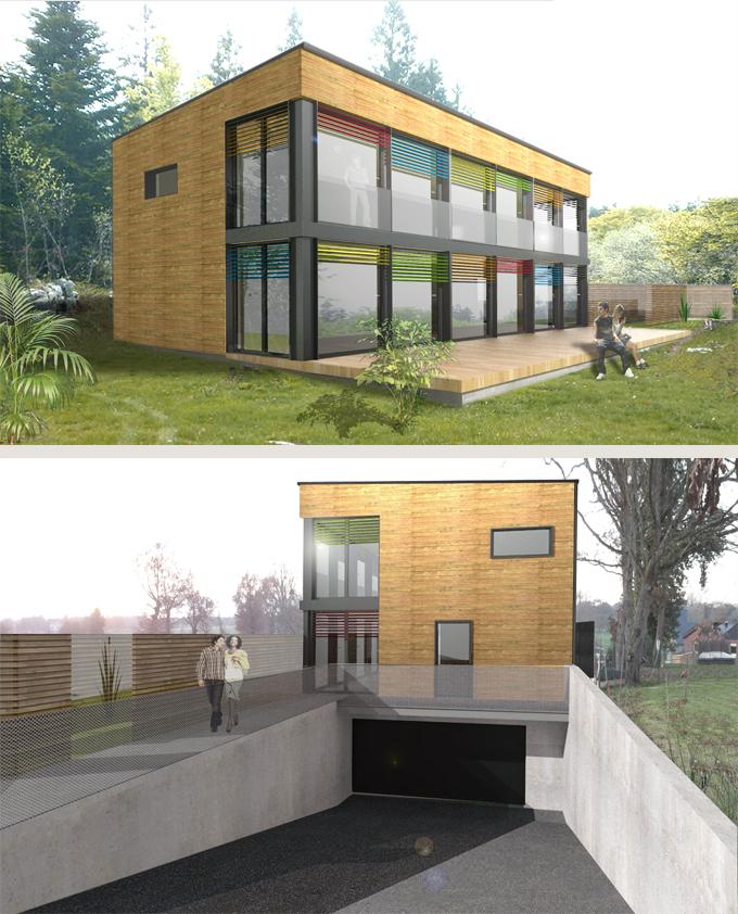 Construction d 39 une maison en ossature bois ille et vilaine 35 for Construction bois 35