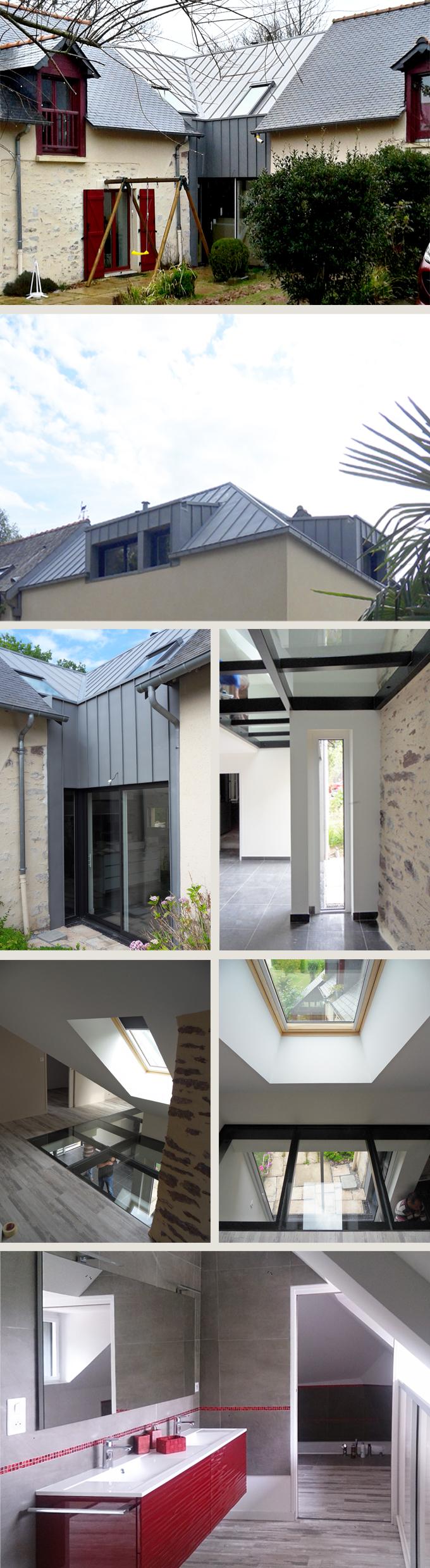 Extension sur 2 niveaux en liaison des constructions existantes à Montfort sur Meu (35)
