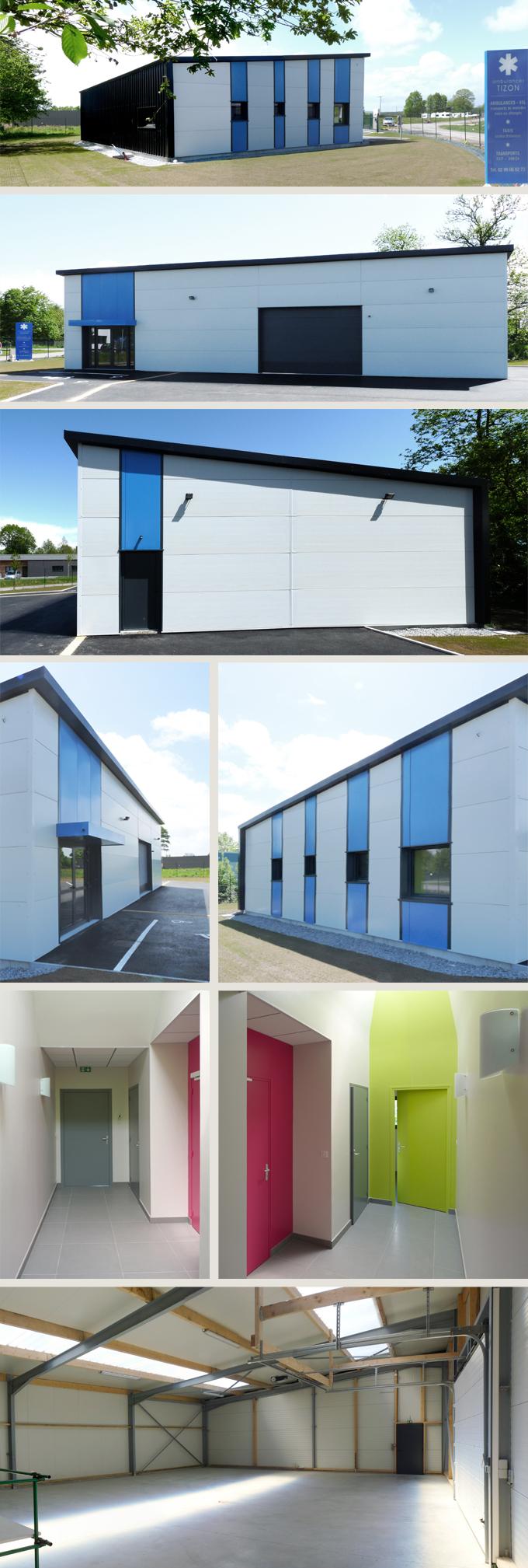 Création d'un centre ambulancier en construction métallique + bois à Plélan le Grand (35380)